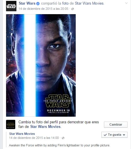 Sable de Star Wars en tu perfil de Facebook